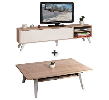 elegant exclu web chez but pack de meubles meuble tv table basse cosmos chne with lit gigogne. Black Bedroom Furniture Sets. Home Design Ideas