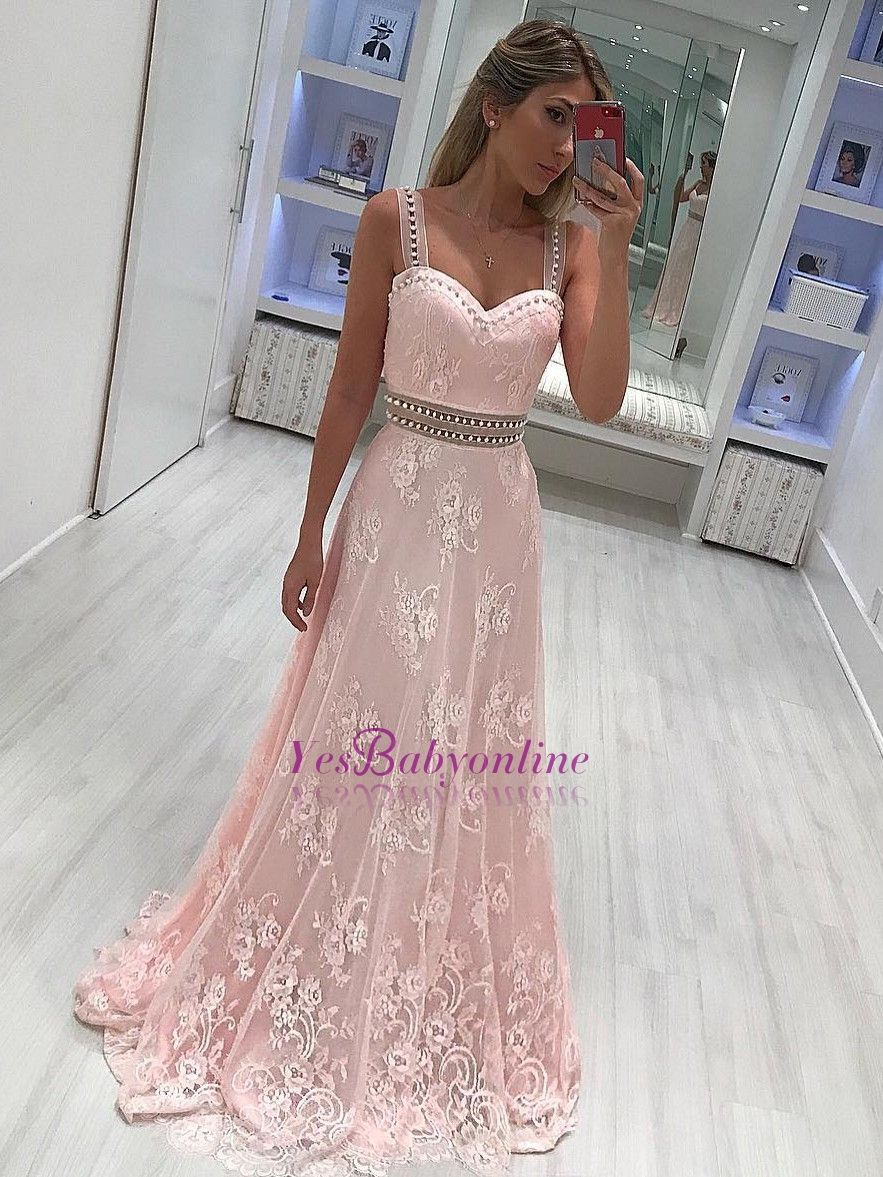 Photo of Strape lace A-line Elegant prom dresses