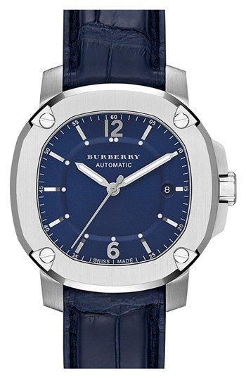 Burberry the britain automatic alligator strap watch 43mm regular retail price 1795 for Retail price watches