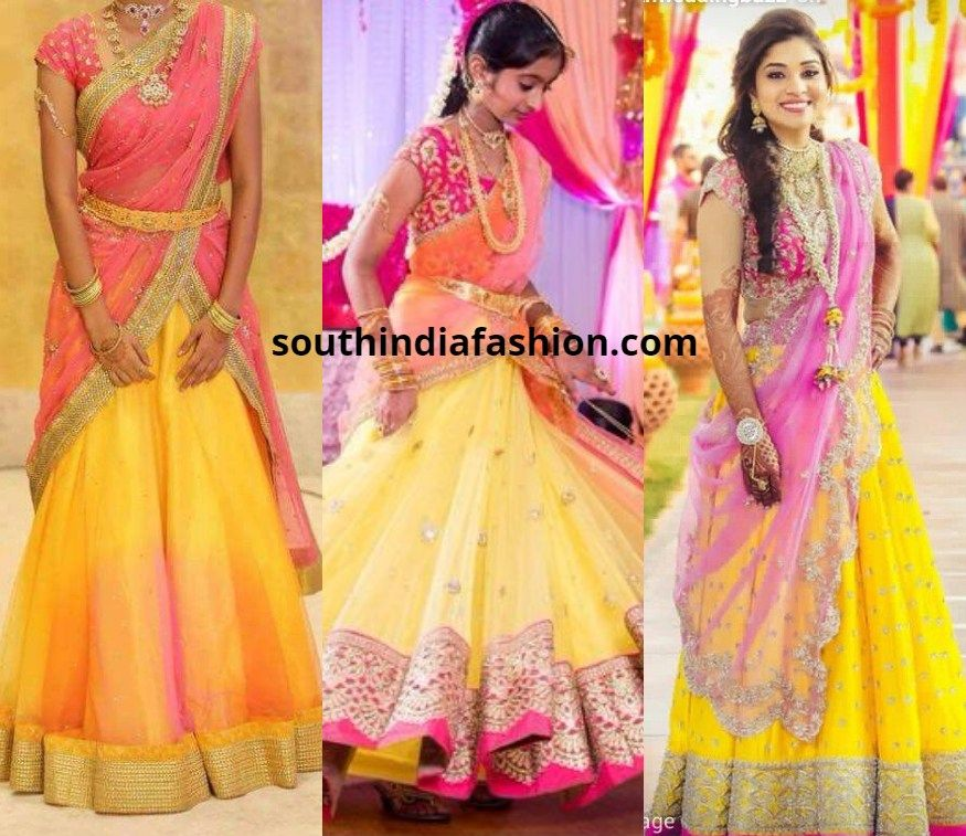 Top 10 Half Saree Color Combinations Trending This Season Pink Half Sarees Half Saree Saree Color Combinations
