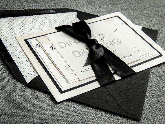 Invitaciones en blanco y negro, invitación de la boda de la caligrafía, invitaciones formales, Moderno Caligrafía - Flat Panel, 2 capas, MUESTRA v1