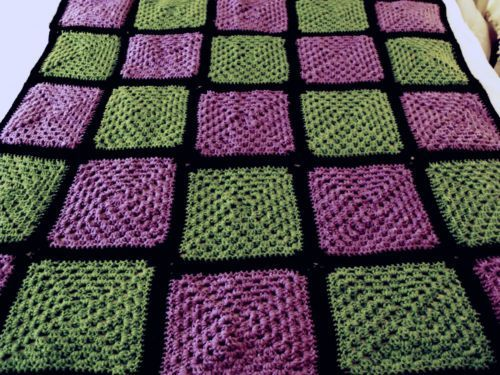 """I really like the color combo...at least the green and purple """"green and purple afghans   VTG Black Purple Green Solid GRANNY SQUARES ...   ~Treasures For the ..."""