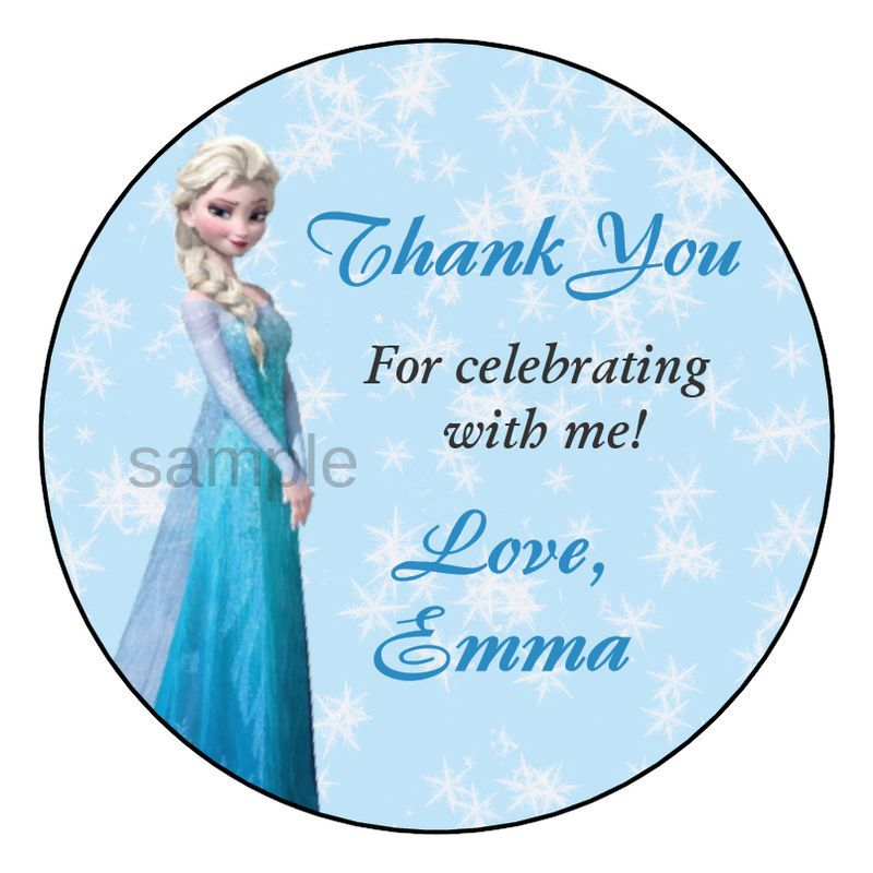 Frozen elsa birthday party favor personalized thank you labels stickers
