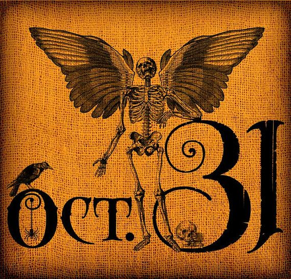 halloween winged skeleton crow october 31st vintage digital collage image transfer download 300 dpi for pillows - Why Is Halloween On The 31st Of October