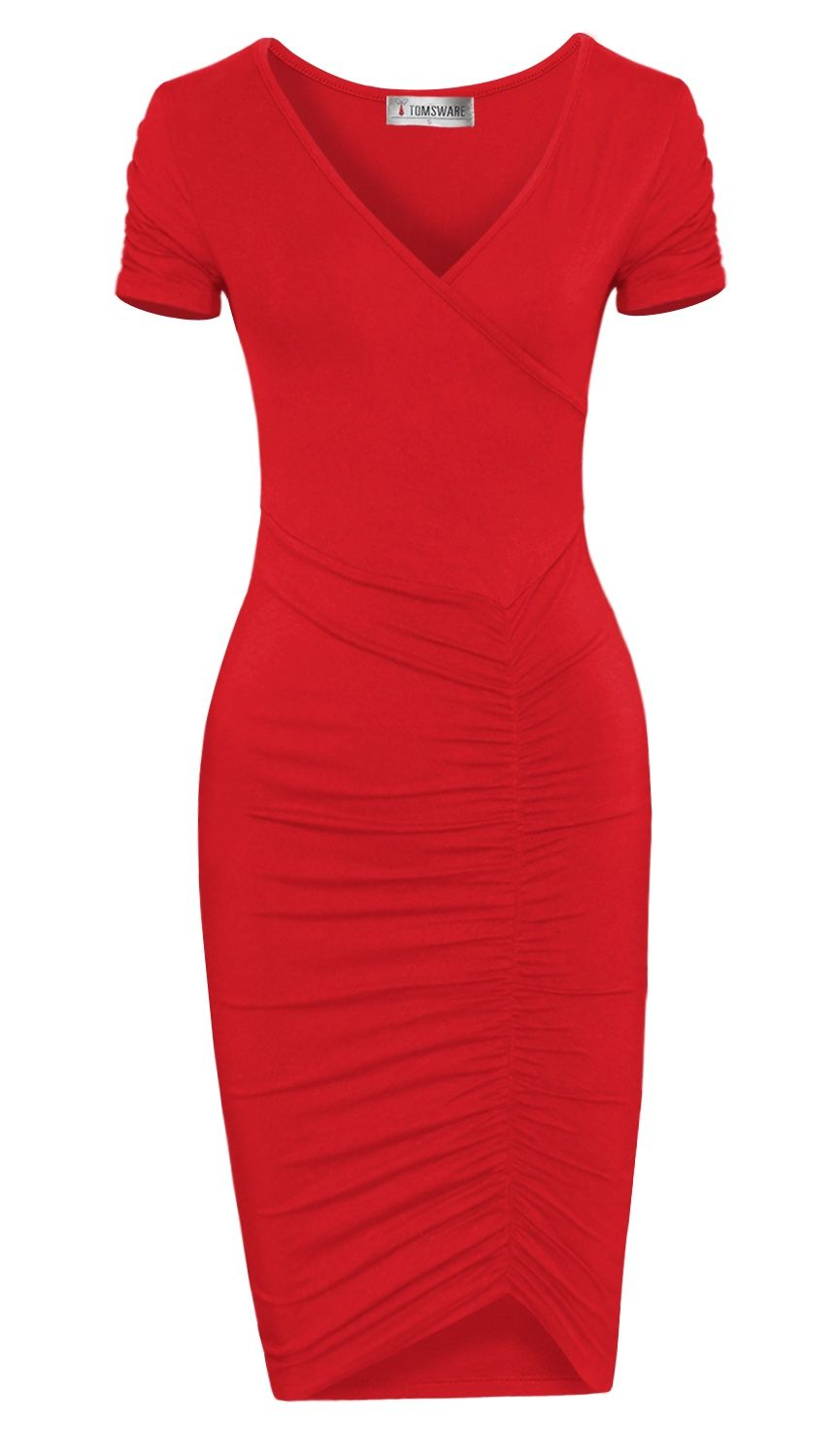 Tam Ware Tam Ware Women Fashionable V Neck Short Sleeve Ruched Dress Walmart Com In 2021 Fashion Red Dresses Classy Ruched Dress [ 1499 x 862 Pixel ]