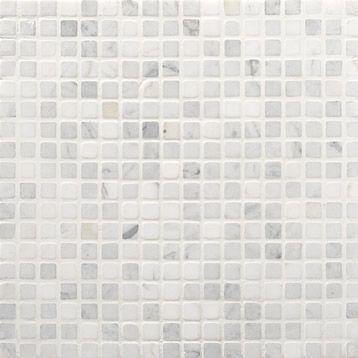 Mosaïque sol/mur en marbre Minéral 1.5x1.5, ARTENS, blanc carrare ...