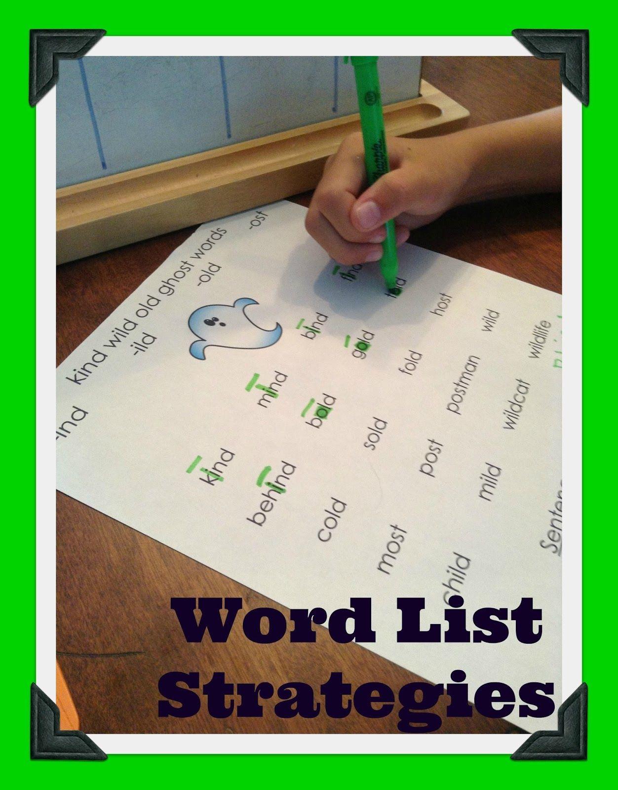 Orton Gillingham Word List Strategies