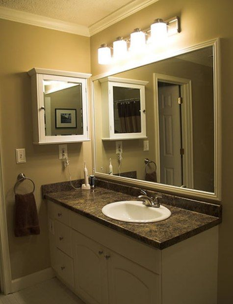 The sink is off center so not ideal but would work well - Bathroom vanity mirror side lights ...