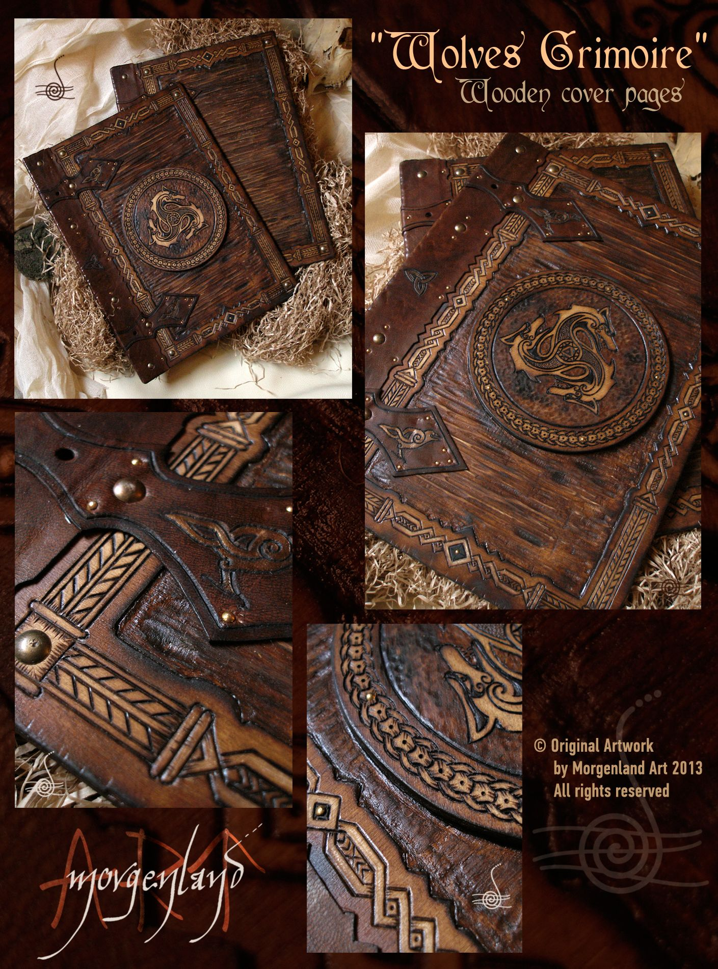 How To Make A Book Cover Leather ~ Quot wolves grimoire wooden cover pages sold orders at