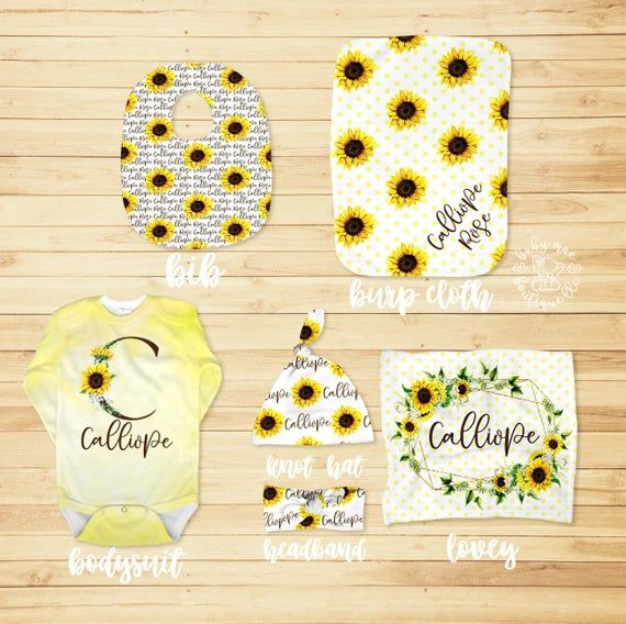 Photo of Newborn Baby Girl Gift Set / Sunflower Yellow / Personalized Blanket Crib Sheet Lovey Changing Pad Bib Burp Cloth Hat Headband