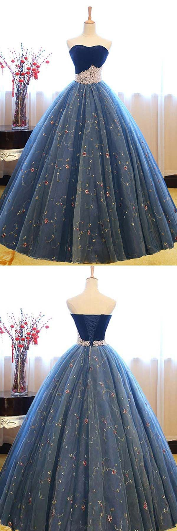 Fancy ball gown prom dresses ball gown sweetheart navy blue lace
