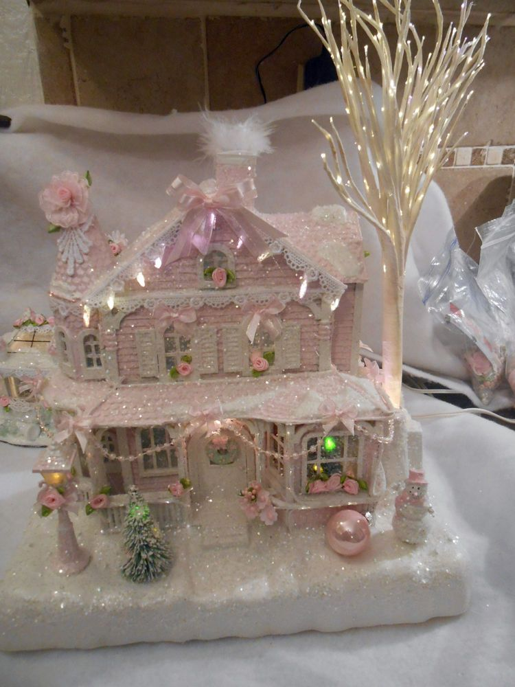Shabby pink victorian christmas village fiber optic house for Shabby chic christmas