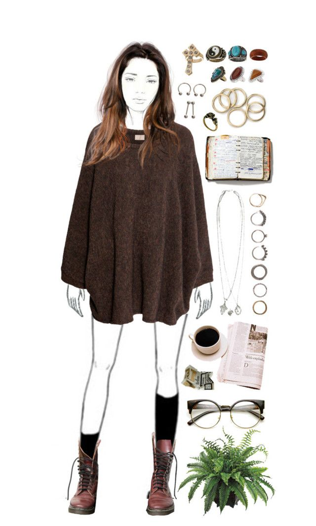 """""""Fall."""" by marispa ❤ liked on Polyvore featuring H&M, Dr. Martens, Goti, INDIE HAIR, YIN, Topshop, Peek, ASOS and Iosselliani"""