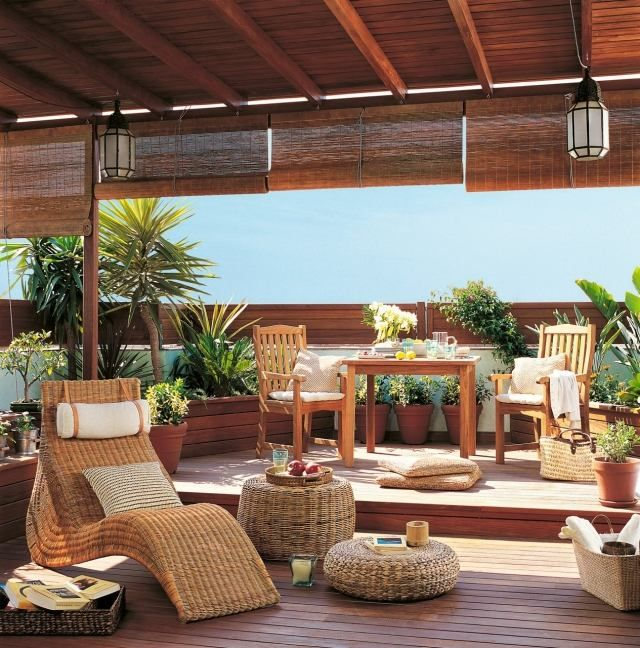 terrassengestaltung toskana-flair rattan lounge möbel bambus