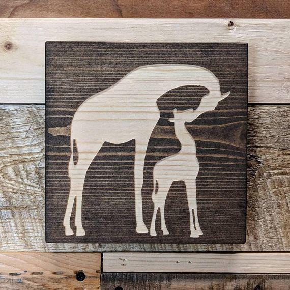 Giraffe Safari Nursery Wall Art Solid Carved Wood Jungle Nursery