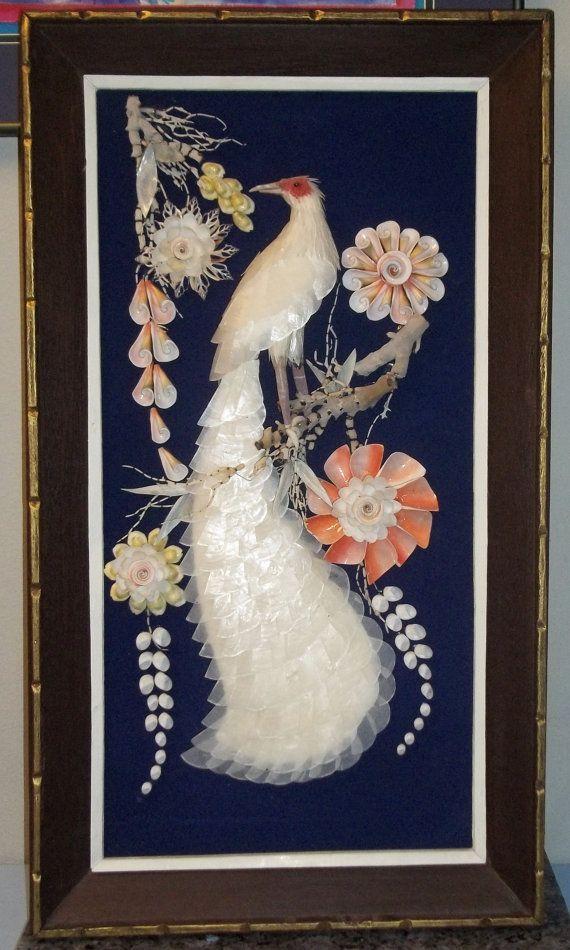Vintage 3d Asian Shell Art Peacock Folk Art Wall Hanging