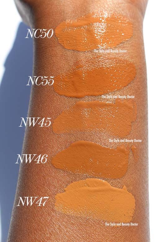 Mac studio fix fluid nc50 nc55 nw45 nw46 nw47 swatches on dark skin