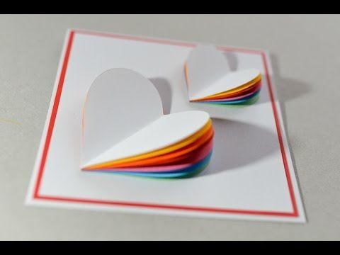 Pop Up Karte Basteln Mit Papier Herz Regenbogen Diy Wasserfall