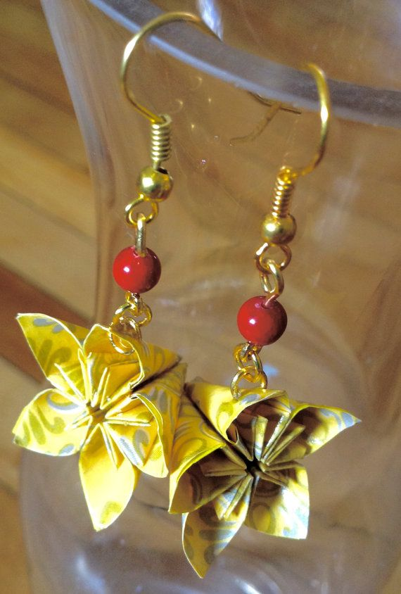 Yellow Kusudama Origami Earrings Jewelry