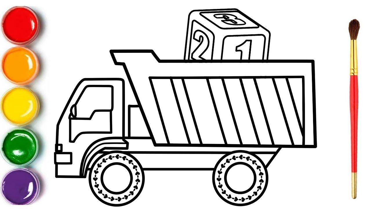 Glitter Toy Truck Coloring And Drawing Paint For Toddlers And