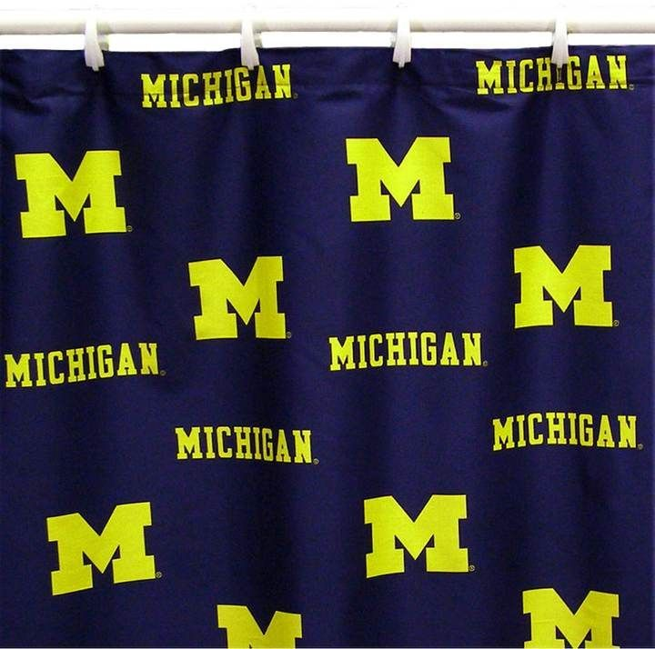 College Covers Michigan Wolverines Printed Shower Curtain Cover Michigan Wolverines Michigan Curtains