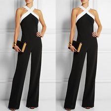 d127e34422aa tuta elegante con pantaloni lungo vestito abito cerimonia da donna casual  Nero