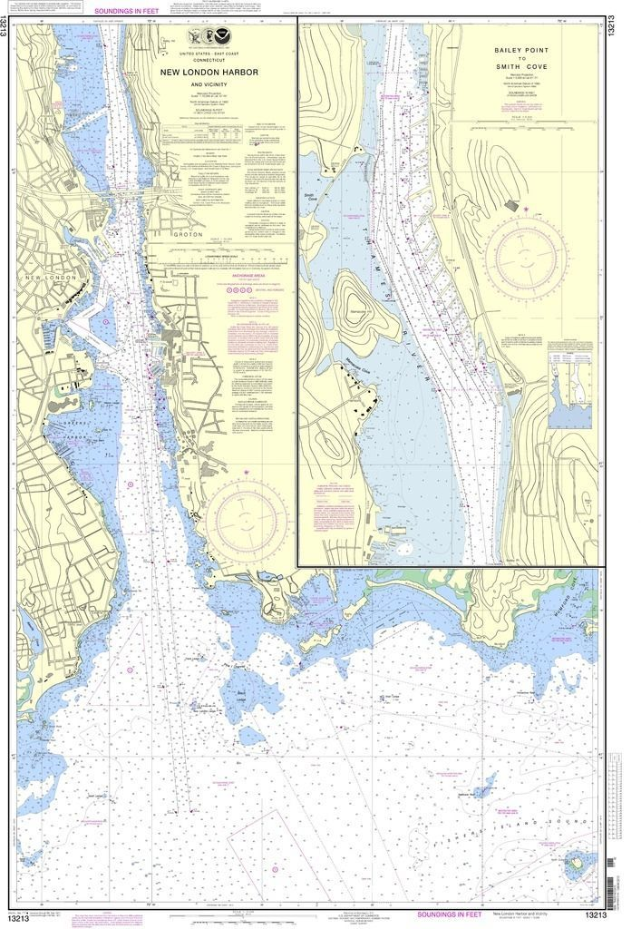 NOAA Nautical Chart 13213 New London Harbor and vicinity;Bailey