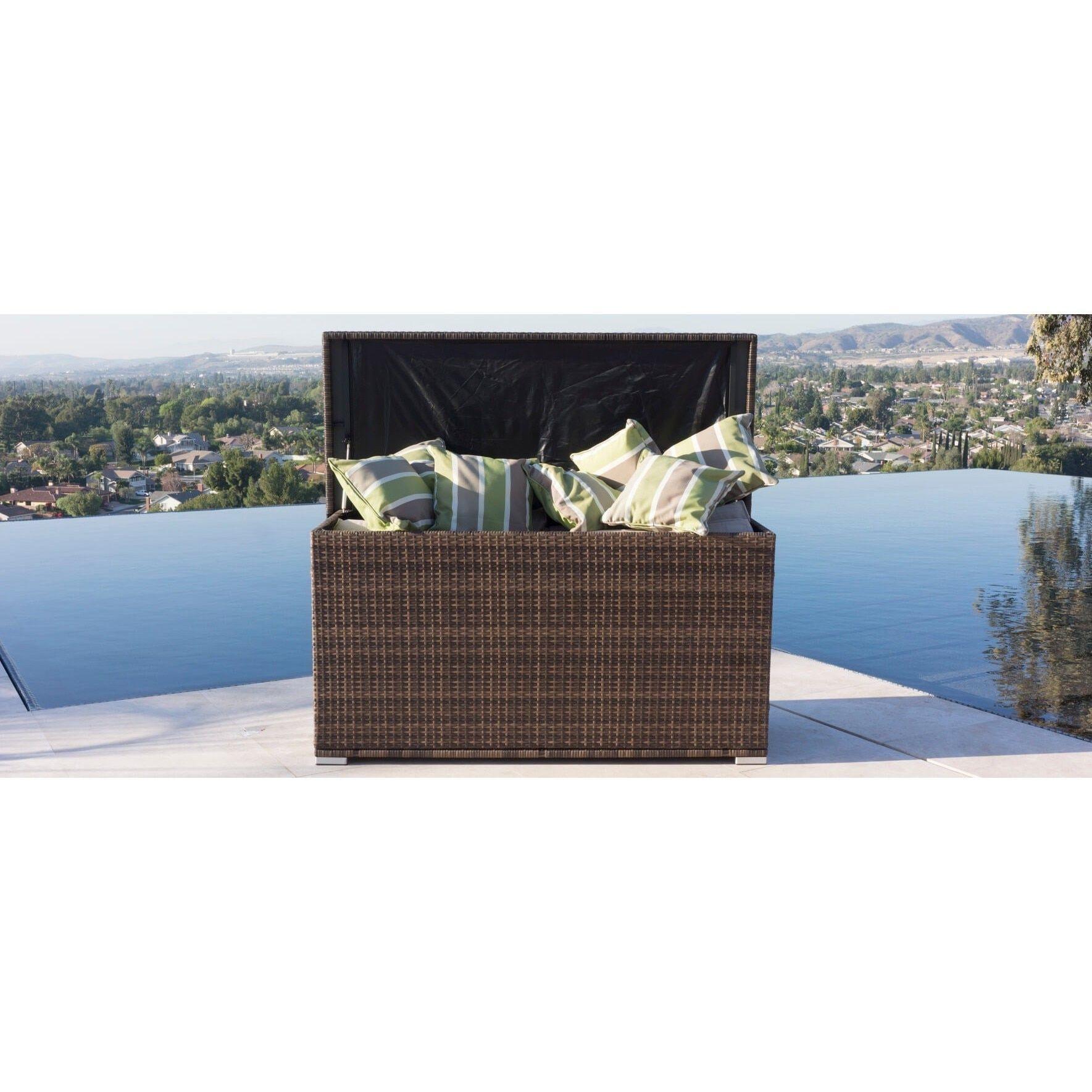 Modena Outdoor Rattan Garden Cushion Storage Box Container Brown