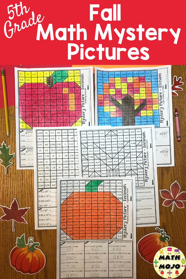 These 5th Grade Math Mystery Pictures Will Keep Your Students Engaged And Motivated To Practice Fifth Grade Math Mystery Picture Fall Math Activities Fall Math