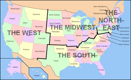 Map of USA showing regions - U.S. state - Wikipedia, the ...