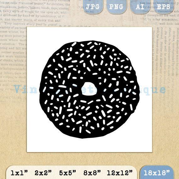 Donut Digital Image Printable Donut with by VintageRetroAntique