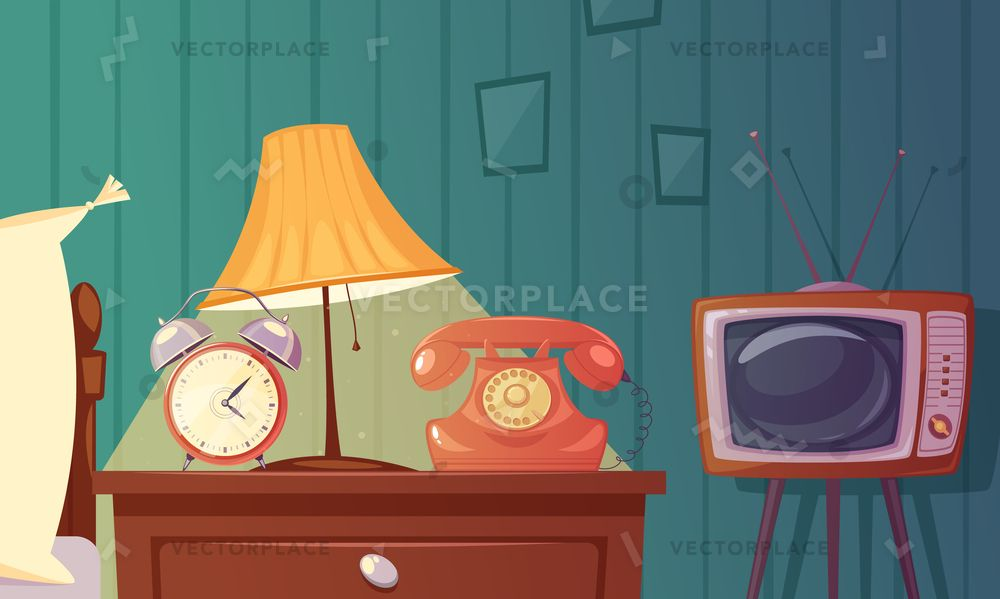 Retro Gadgets Cartoon Composition With Alarm Clock Phone Tv Lamp