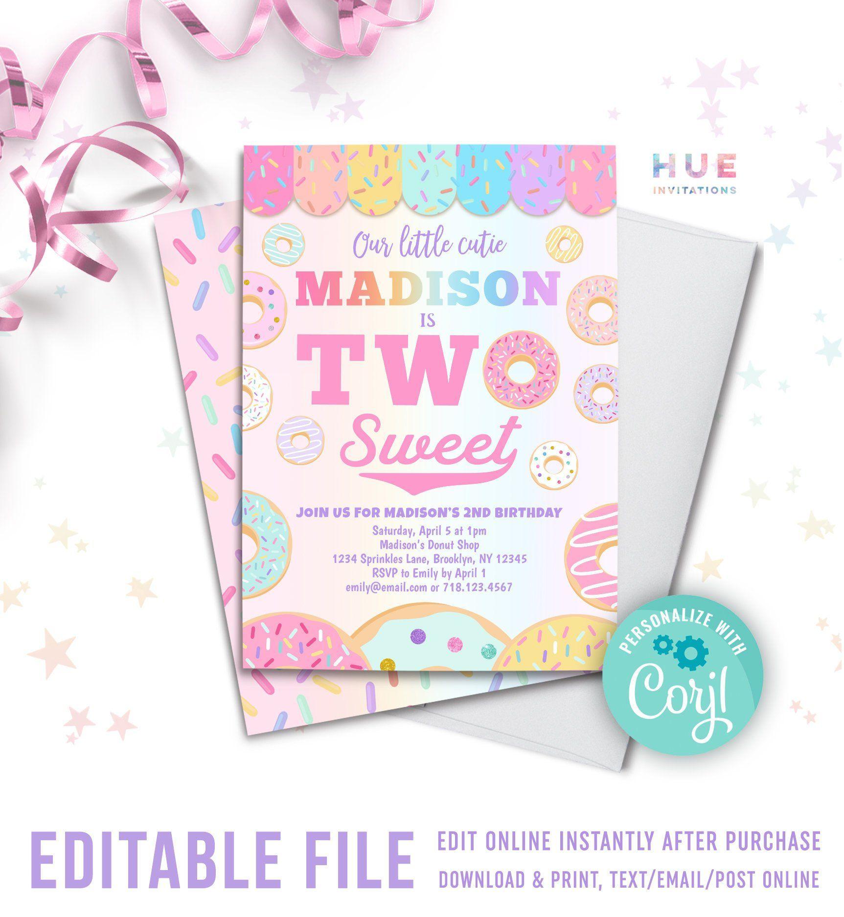 two sweet donut 2nd birthday invitation