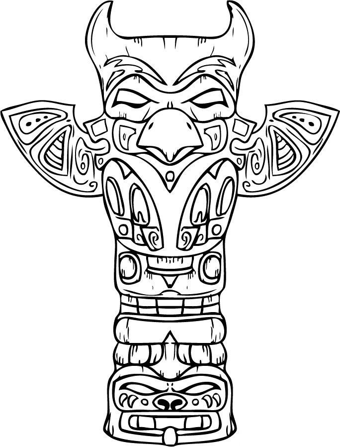 hawaiian totem pole coloring pages - photo#5