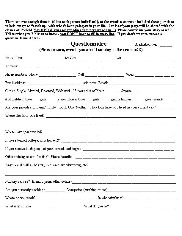 high school reunion questionnaire | Posted by Lisa Dragoo at 7:45 ...