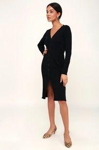 720d3d92e319 I Adore You Black Long Sleeve Knit Button-Up Midi Sweater Dress ...