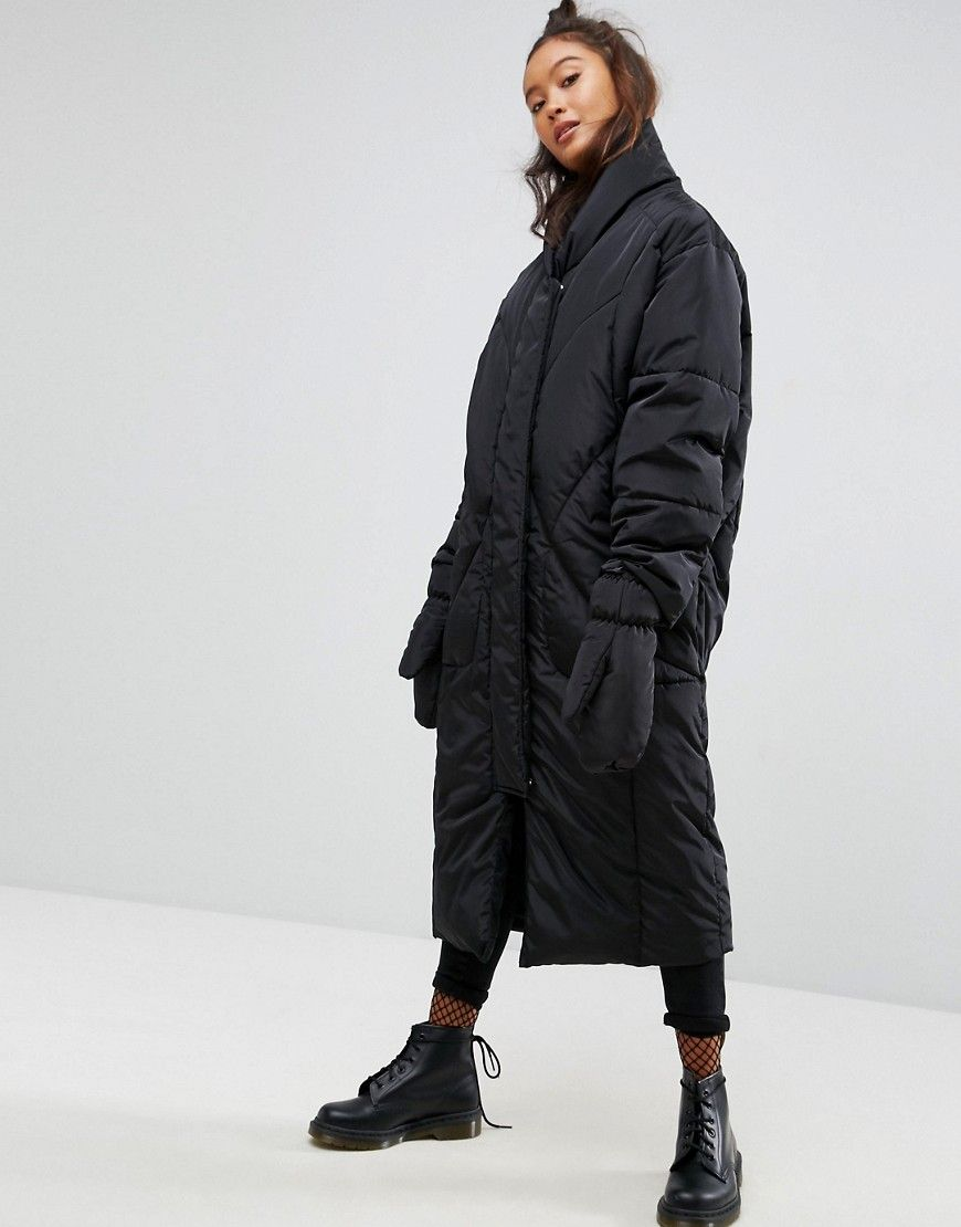 686e044756c ASOS Longline Puffer Coat with Detachable Mittens - Black
