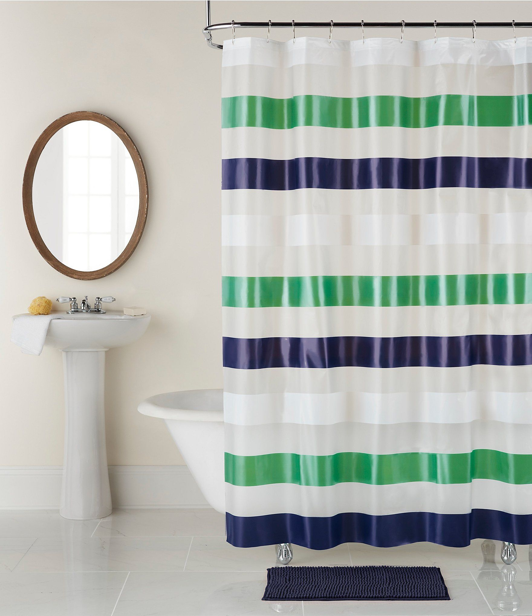 Studio D Back To Campus Collection Navy Stripe Shower Curtain Rug