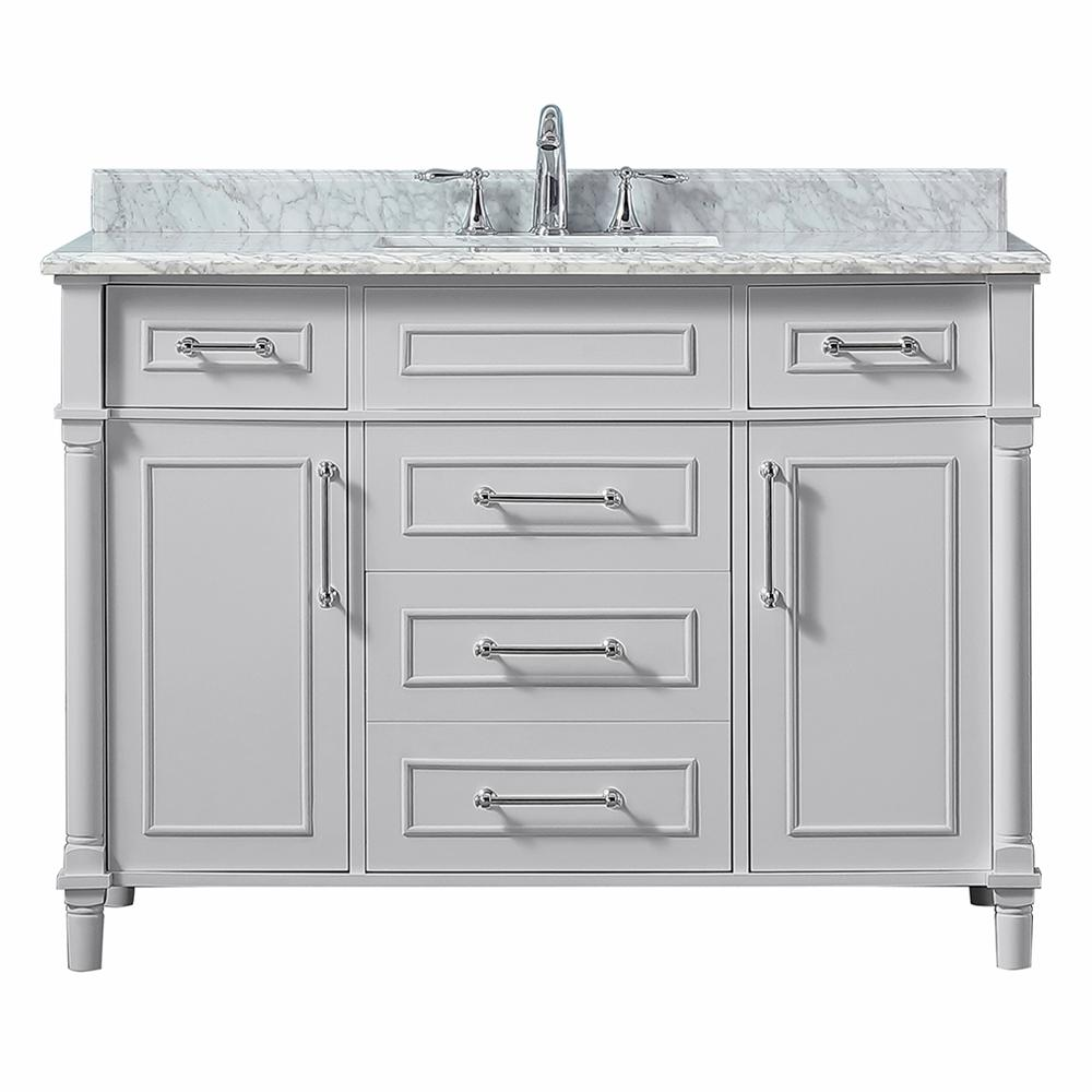 Home Decorators Collection Aberdeen 48 In W X 22 In D Vanity In Dove Grey With Carrara Marble Top With White Sink White Sink Bathroom Vanity Tops Marble Vanity Tops