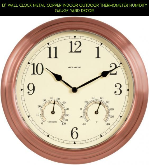 13 Wall Clock Metal Copper Indoor Outdoor Thermometer Humidity Gauge Yard Decor Fpv