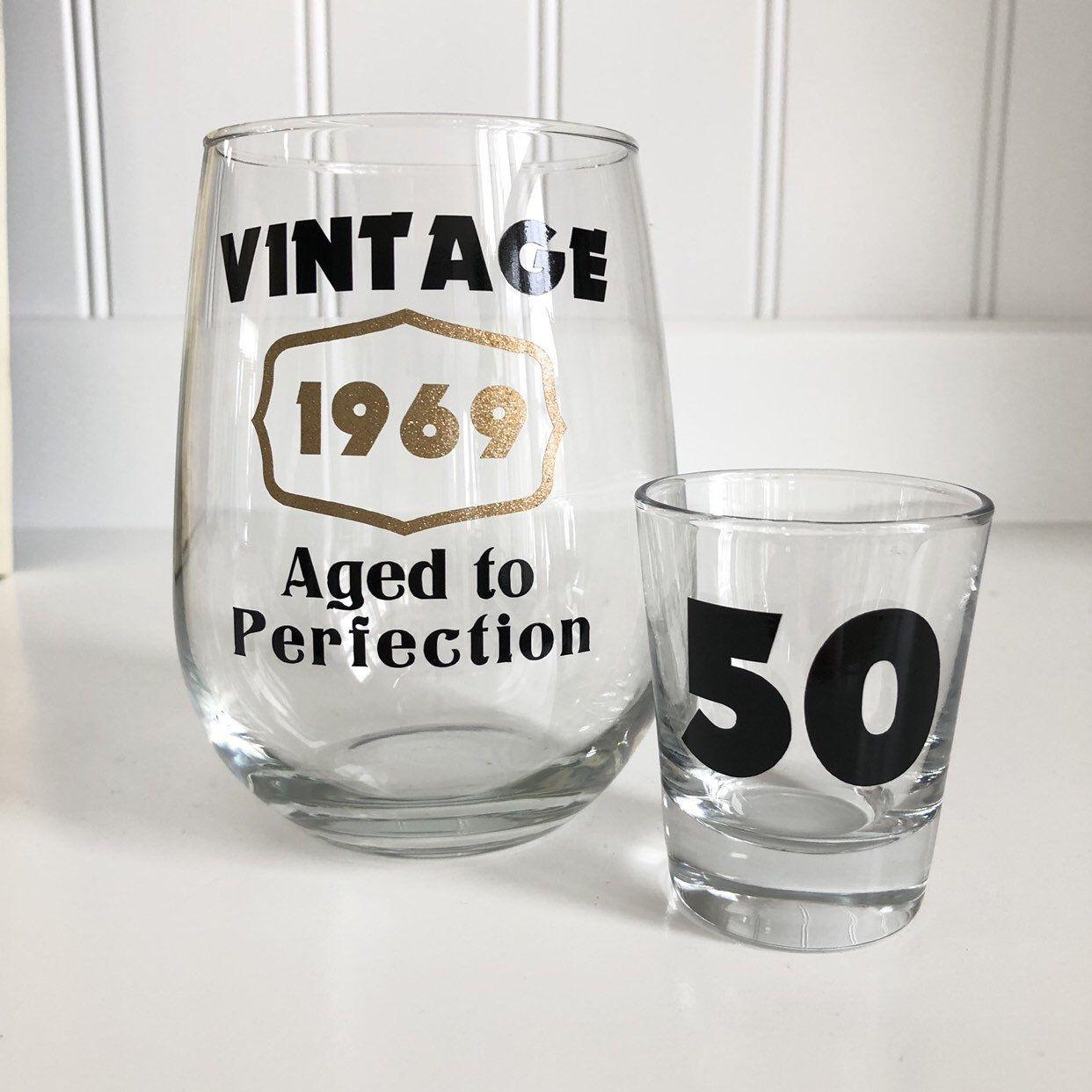 50th Birthday Wine Glass/50th Birthday Gift/Vintage