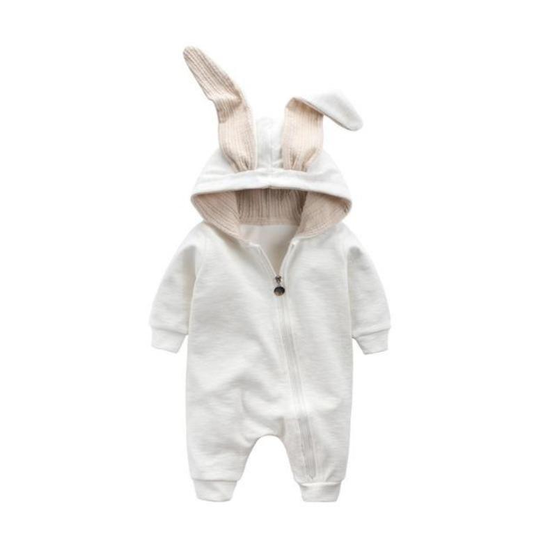 Newborn Baby Winter Warm Gray Zipper Cartoon Rabbit Ears Hooded Jumpsuit