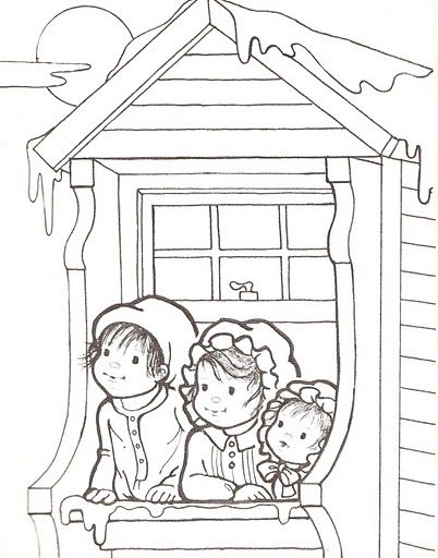 Three Children Looking Out Upstairs Window Christmas Coloring