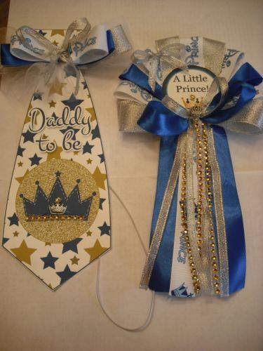 Detalles Acerca De Azul Y Plata Principe Mama Para Baby Shower
