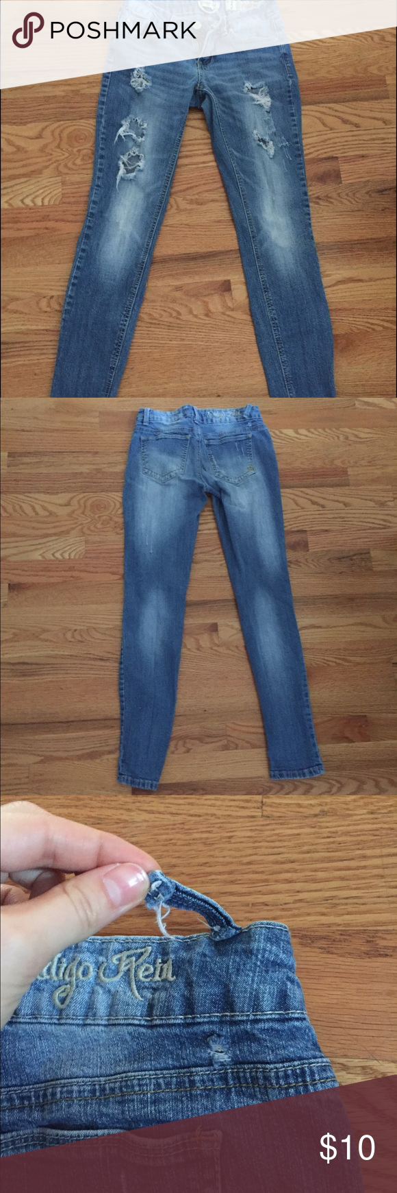 Skinny ripped jeans Gently used one belt buckle is ripped but can be fixed size 3 Jeans Skinny