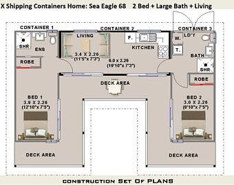 Cad DWG Version 40 Foot Shipping Container Home Full Construction House Plans