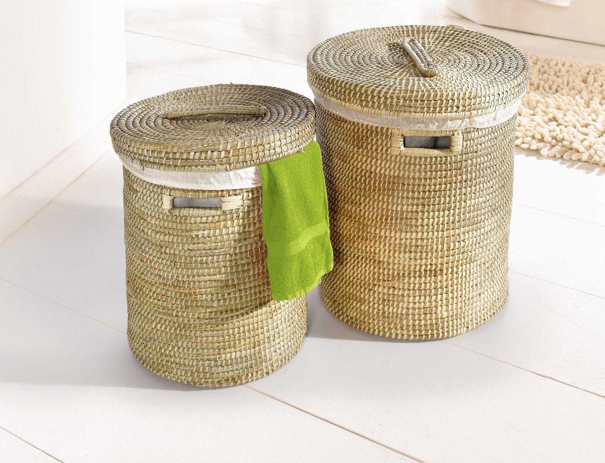 Korb badezimmer ~ Wäschekorb mit deckel diverse größen ab seegras textileinlage