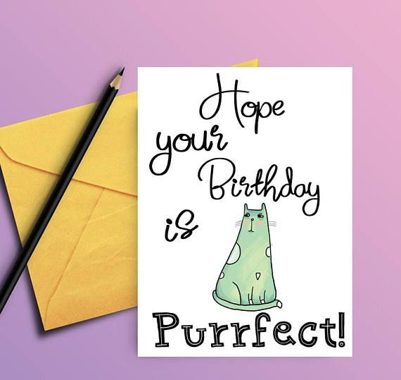 Cat Birthday Card Birthday Card From Cat Card For Cat Lover