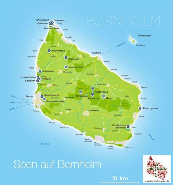 Karte Der Seen Auf Bornholm Karte See Bornholm Teich Danemark