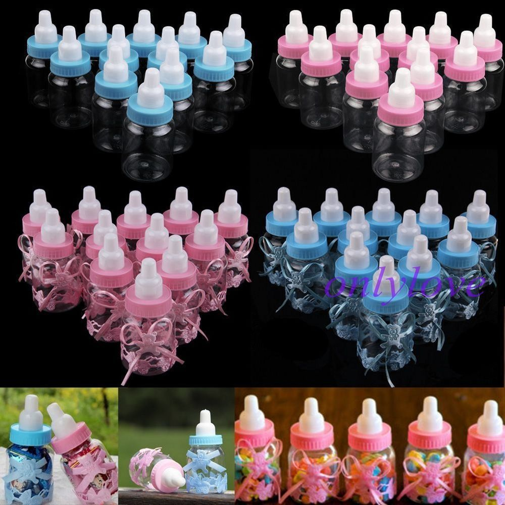 12//24 Fillable Bottles Candy Box Baby Shower Baptism Party Christening PInk/&Blue